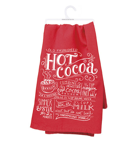 "This bright red Dish Towel says ""Hot Cocoa"" in big white print with other various text under the words."