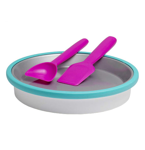 Two magenta ice cream spoons, one shaped like a spade, the other shaped like a deeper shovel, both sitting in a round silver pan with turquoise edges