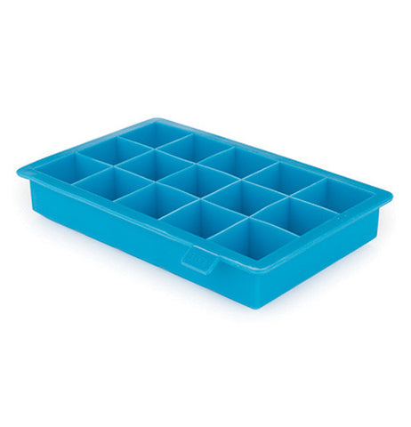 Ice cube tray that is blue and hold up to fifteen ice cubes.