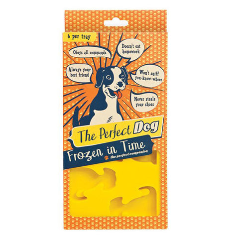 "Ice molds in package that has cute saying in speech bubbles. The package says ""the perfect dog frozen in time."""