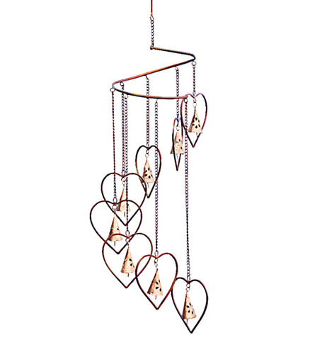 "Spiral Marble ""Hearts and Bells"" is a hanging ornament and made of steel."