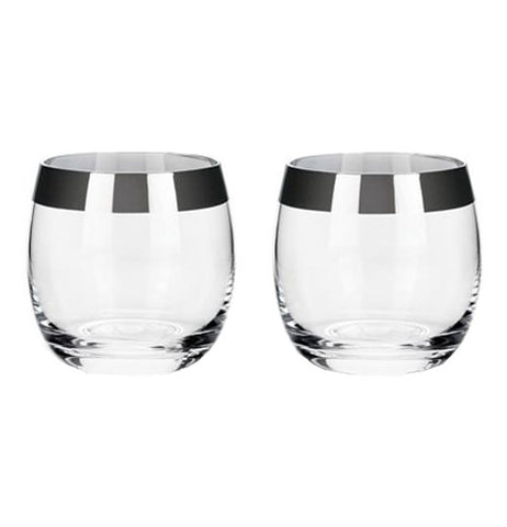 A pair of two glass-like Chrome Rim Crystal lays empty without drinks.