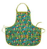 This blue kiddie apron has a design of mermaids with the same green tail and green tying strings.