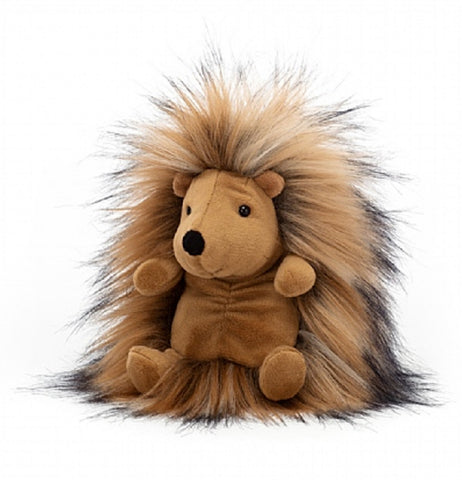 A brown hedgehog plushies has a hairy body and a smooth body. It's facing the left.