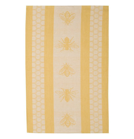 A Golden Dishtowel with five honey bees
