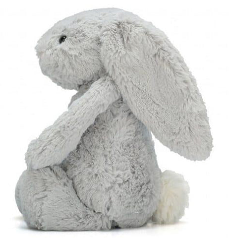 A left side view of a Medium Bashful Grey Bunny