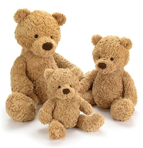 Three different sized stuffed bear toys are shown ranging from large, medium, and small.