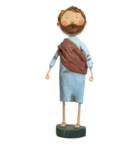 Joseph figurine wearing a blue shirt with blue pants and a brown sash around his chest.