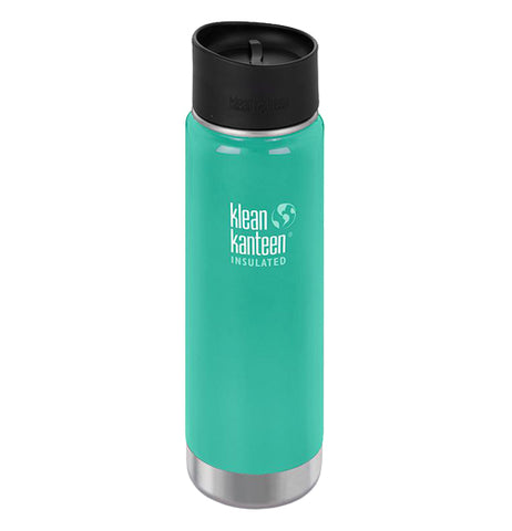 "This insulated steel water bottle with a black lid is teal green with its logo, ""Klean Kanteen"" in white lettering right in its center. Below the logo is the word, ""Insulated""."