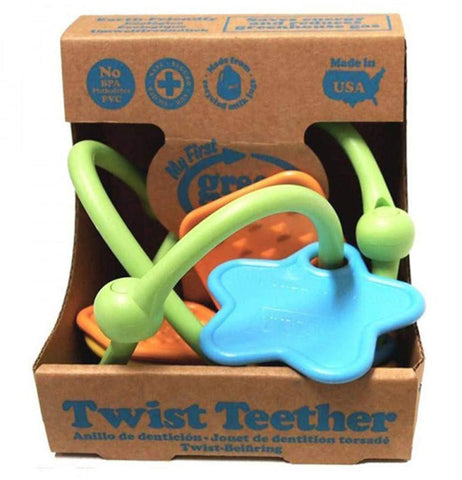 The multi-colored twist teether is shown in its cardboard packaging.