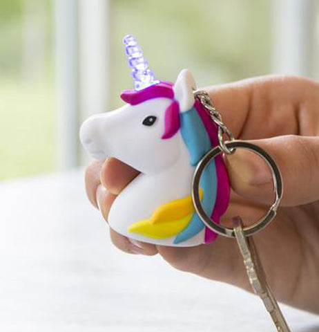 "This image shows a  hand holding the ""Unicorn"" Keychain with a key in the holder."