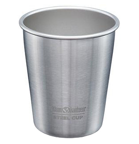 "This stainless steel has the logo, ""Klean Kanteen"" in black lettering at the bottom front and ""Steel Cup"" below that separated by a line also in black lettering."