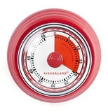 This is a retro kitchen timer with the first 20 minutes in red. The timer goes up to 60 minutes and the outer rim is red.