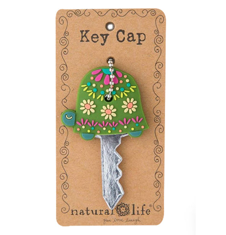 A brightly Colored Turtle shaped key Cap by Natural Life.