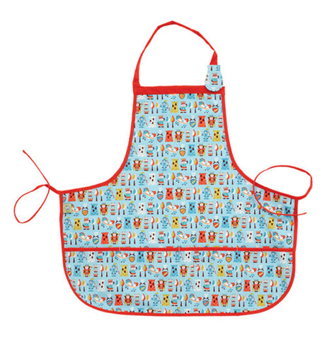 This light blue kiddie apron has a design of red robed kings and armored knights covering it and red tying strings.