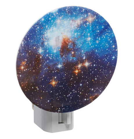This is a round nightlight painted to look like the galaxy.