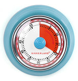 This is a retro kitchen timer with the first 20 minutes in red. The timer goes up to 60 minutes and the outer rim is light blue.