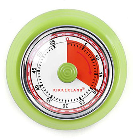This is a retro kitchen timer with the first 20 minutes in red. The timer goes up to 60 minutes and the outer rim is bright green.