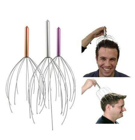 The three different-colored massagers are shown together next to two pictures of a person's head being massaged by them.