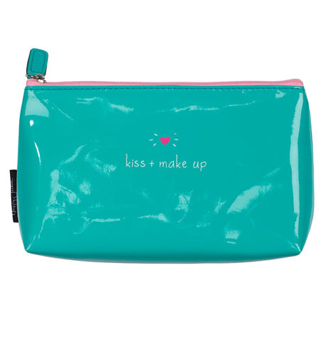 Make up & kiss hand bag that is green on the outside.