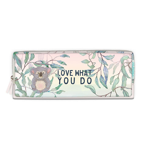 This pencil case is pastel with a kola and branches.