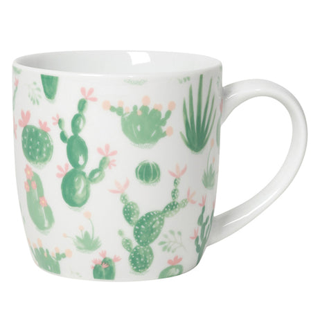 White 12oz coffee cup with green cacti and pink flowers
