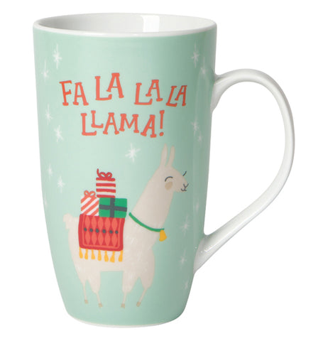 "This teal mug with a white handle has a picture of a white llama carrying wrapped presents on its back. The words, ""Fa La La La Llama"" are shown above the llama in red lettering."