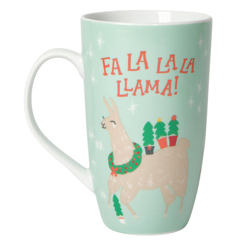 "The other side of the mug is shown with the llama wearing a wreath around its neck and holding small Christmas trees on its back. The words, ""Fa La La La Llama"" are shown in red lettering."
