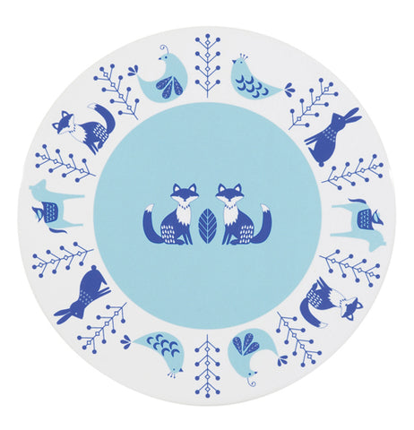 White trivet with a blue center with cats and animals around the outside.