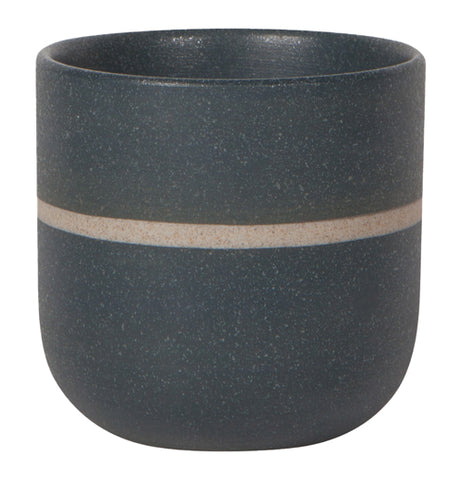 "Single black ""Navy Stripe"" orb teacup with tan stripe across center of the cup."