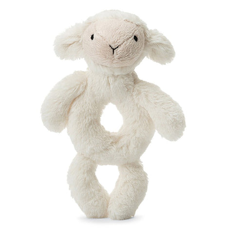 "The ""Bashful Lamb"" Rattle Ring stands on her two legs."
