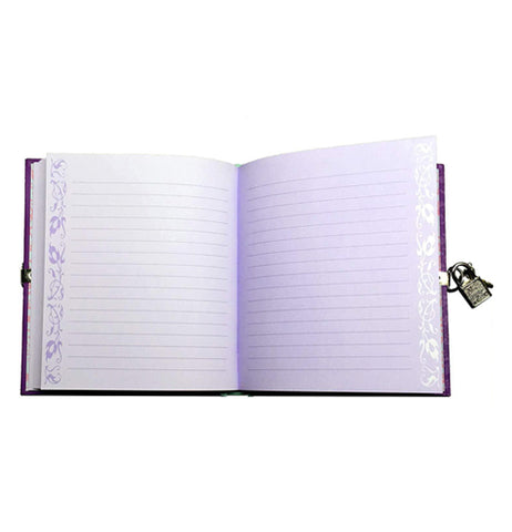 The diary's purple pages are shown with the book open.