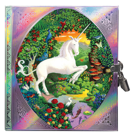 This small diary has a rainbow design on its front cover with a picture of a white unicorn in the middle of a lush forest. A white egret, red roses, and red mushrooms on a tree are all shown next to a creek. The diary is shown locked with a small silver metal lock.