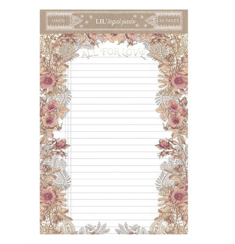 "The Little ""All For Love"" Legal Pad features a pink floral and golden leaf design with ruled lines."