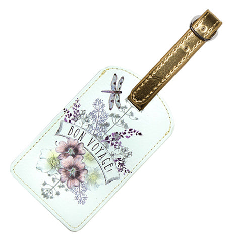 "This white luggage tag with a golden strap has a design of purple and white flowers with the words, ""Bon Voyage"" in purple lettering against a white banner."