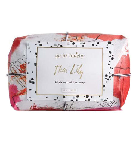 Large Bar Soap wrapped in a red colored floral paper with black polka dots