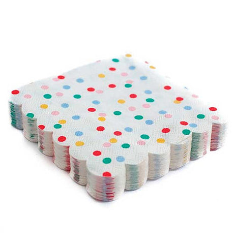 Polka dot napkins that have pink, orange, blue, green, and red dots.
