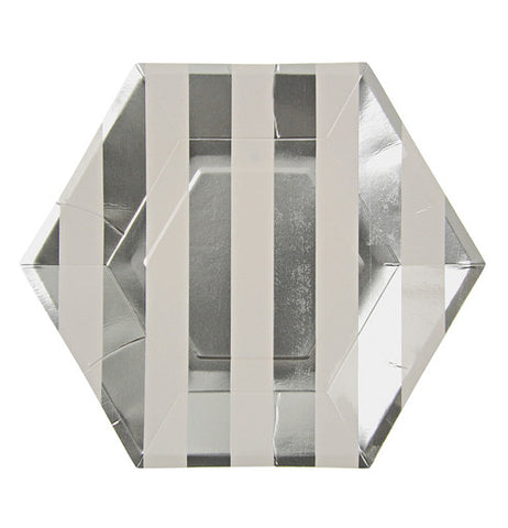 A silver and white stripped plate that is a hexagon shapped plate.