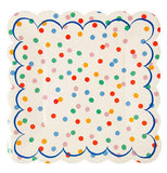 Polka dot napkins with an array of different colored dots with a thin blue line for a boarder.