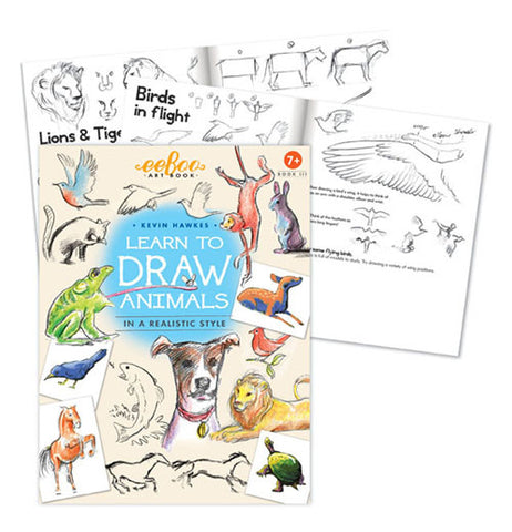 "The front cover of the book shows animals of different kinds and ""Learn to Draw Animals"" with a couple of it's pages telling how to draw the animals."
