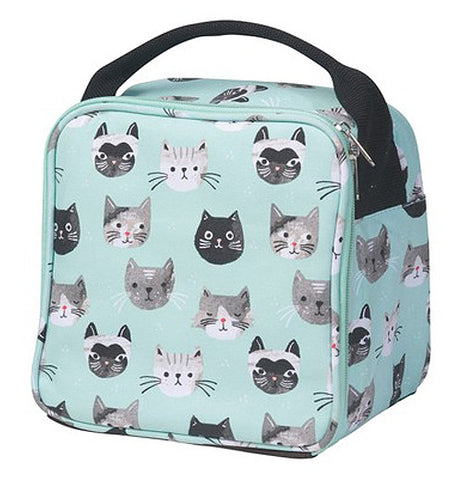 A pastel blue lunch bag with gray, black, and white cats printed all over it. A black strap goes across the top.