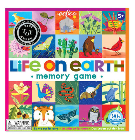 "The ""Life on Earth"" Memory Game the cover of 20 of the 24 pairs of titles, including from iguanas to cardinals, oak leaves to acorns."