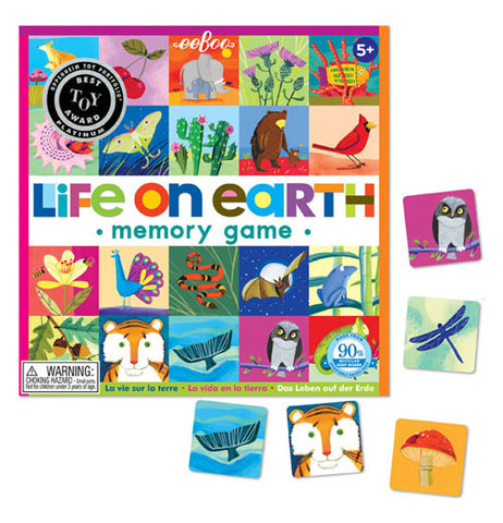 "The ""Life on Earth"" Memory Game has five pieces of the 24 pairs to match on the memory board."