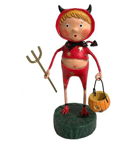 The Lil' Devil figure wears a red devil costume with gold stars and is holding a trick or treat bucket.