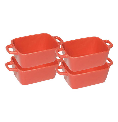 Set of 4 Brick Red Mini Ceramic Loaf Pan