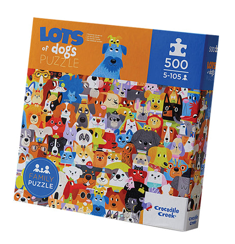 """Lots of Dogs"" 500 piece boxed puzzle with orange and blue cover with dog design."