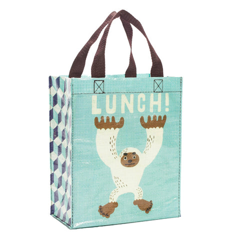 "Turquoise bag with a yetty and the word ""Lunch"" printed on it."