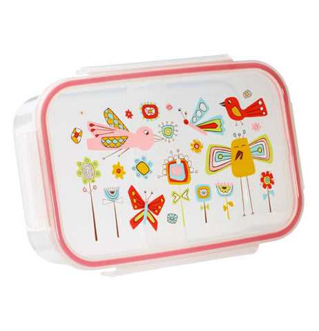 Lunch box with wildlife scenery: birds, flowers and butterflies.