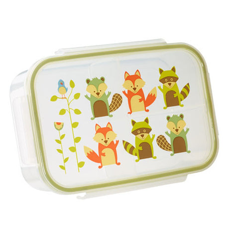 Lunch box container has raccoons on it.