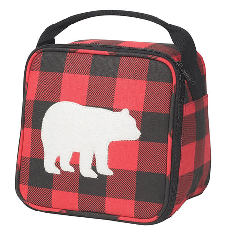Lunch bag that is standing upright with a white bear silhouette centered over a red and black plaid background. Bag has a black zipper and black handle.